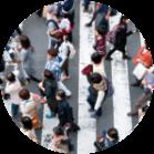 people walking in a busy city